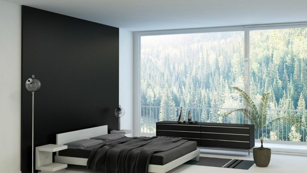 Black Feature Wall Bedroom