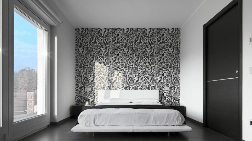 Black pattern bedroom wall
