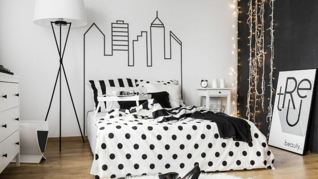 Black and White Polka Dot Patterned Bedroom
