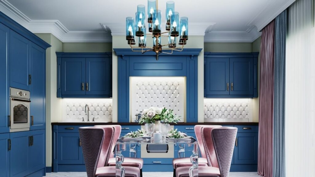 Blue Colored Chandelier