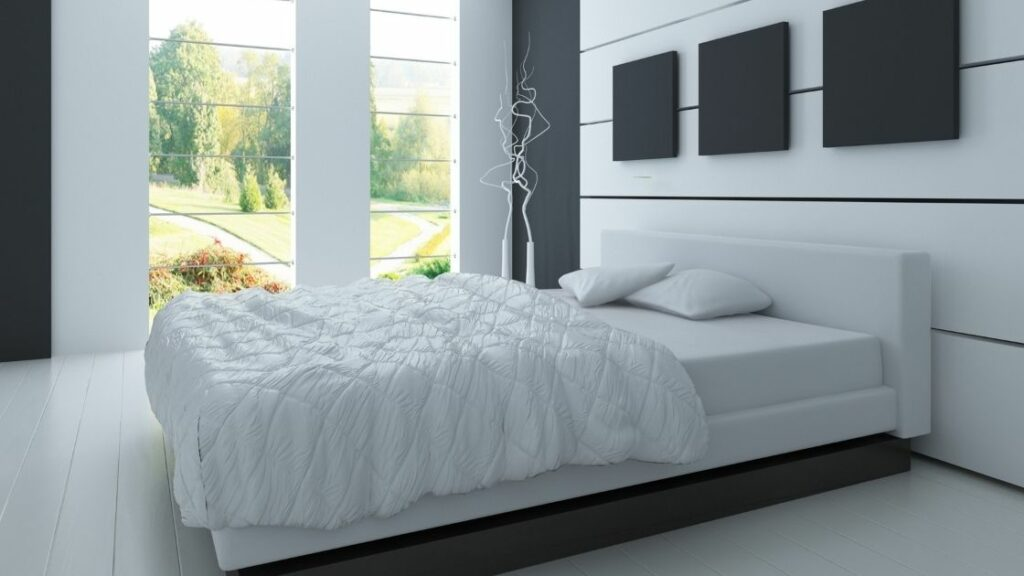 White Bedroom Wall Black Accent