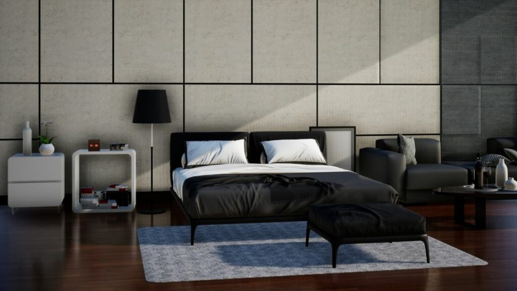 White Feature Wall Black Bedroom