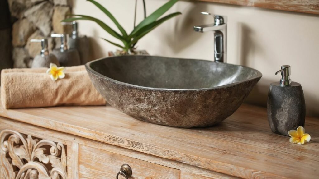 Elegant Vanity With Stone Basin