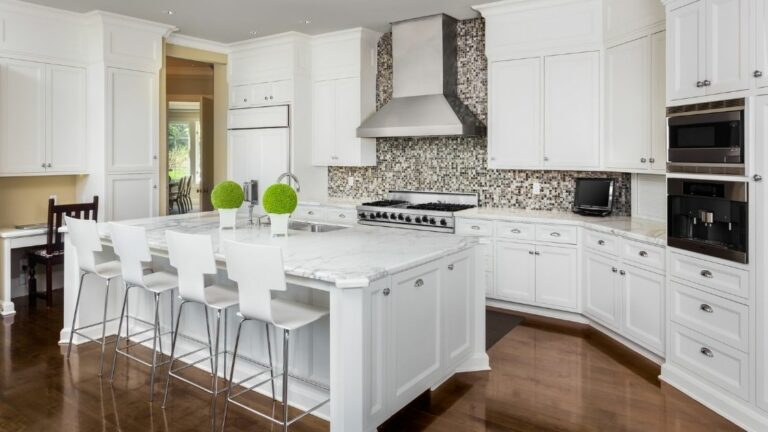 Gray Mosaic Tile Kitchen Backsplash White Cabinets