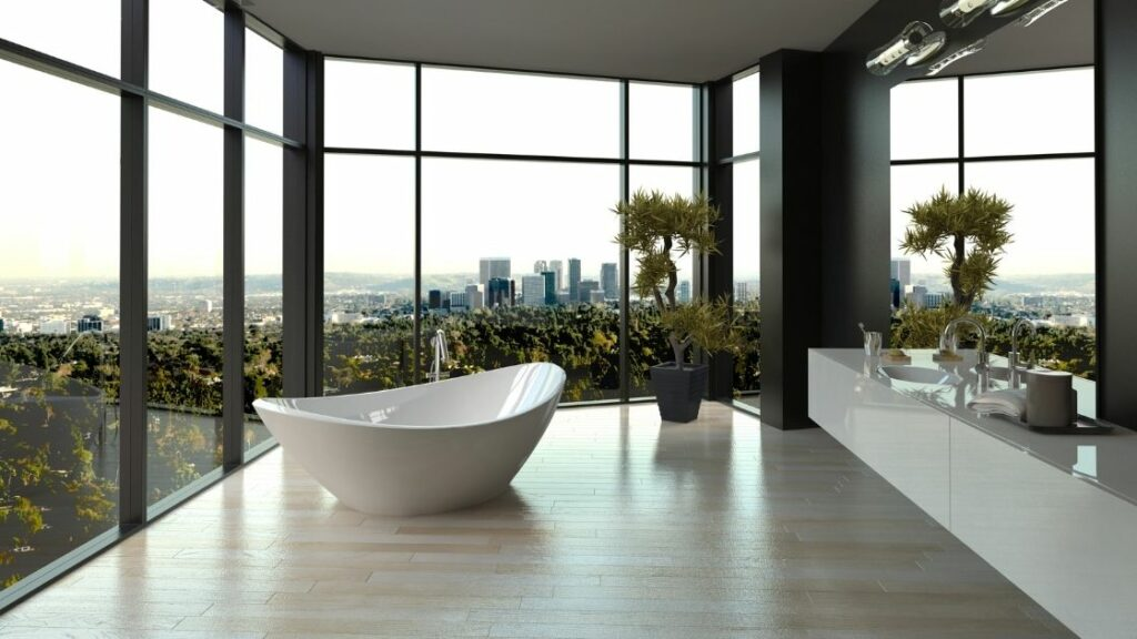 Large Luxury Bathroom With City and Forest View