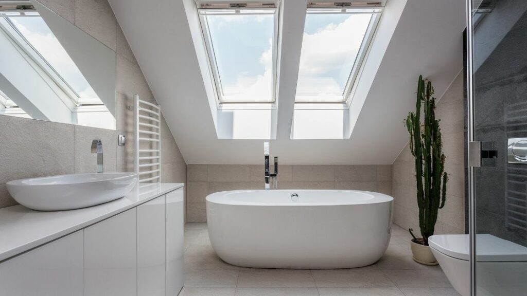 Luxury Attic Bathroom Modern Tub