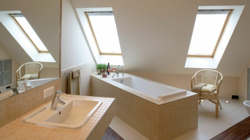 Luxury Attic Bathroom With Built In Tub