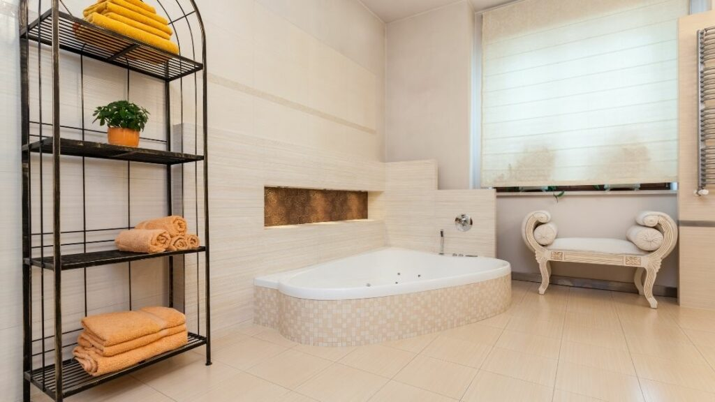 Luxury White Bathroom With Sunken Tub