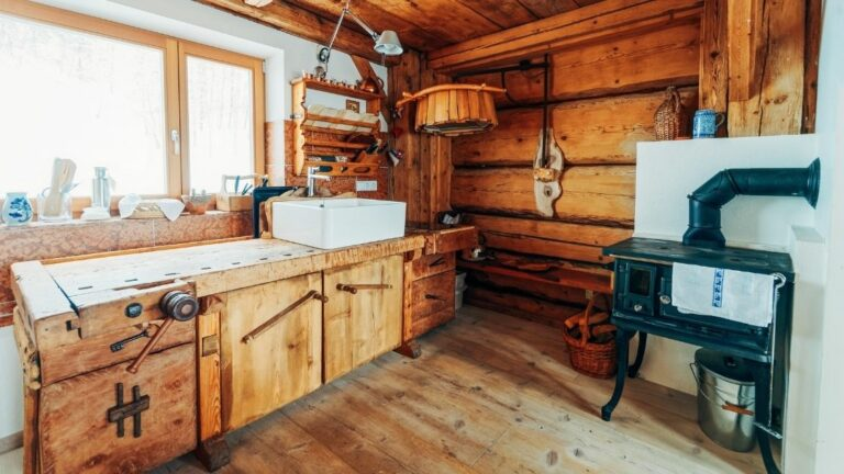 Rustic Wooden Kitchen With Wooden Floor