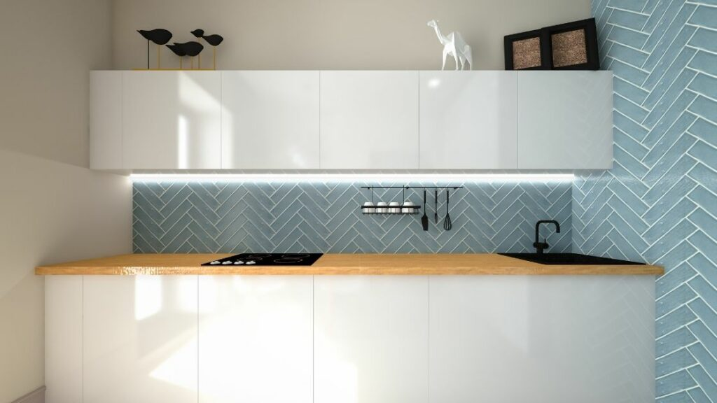 Small Kitchen With Herringbone Tile